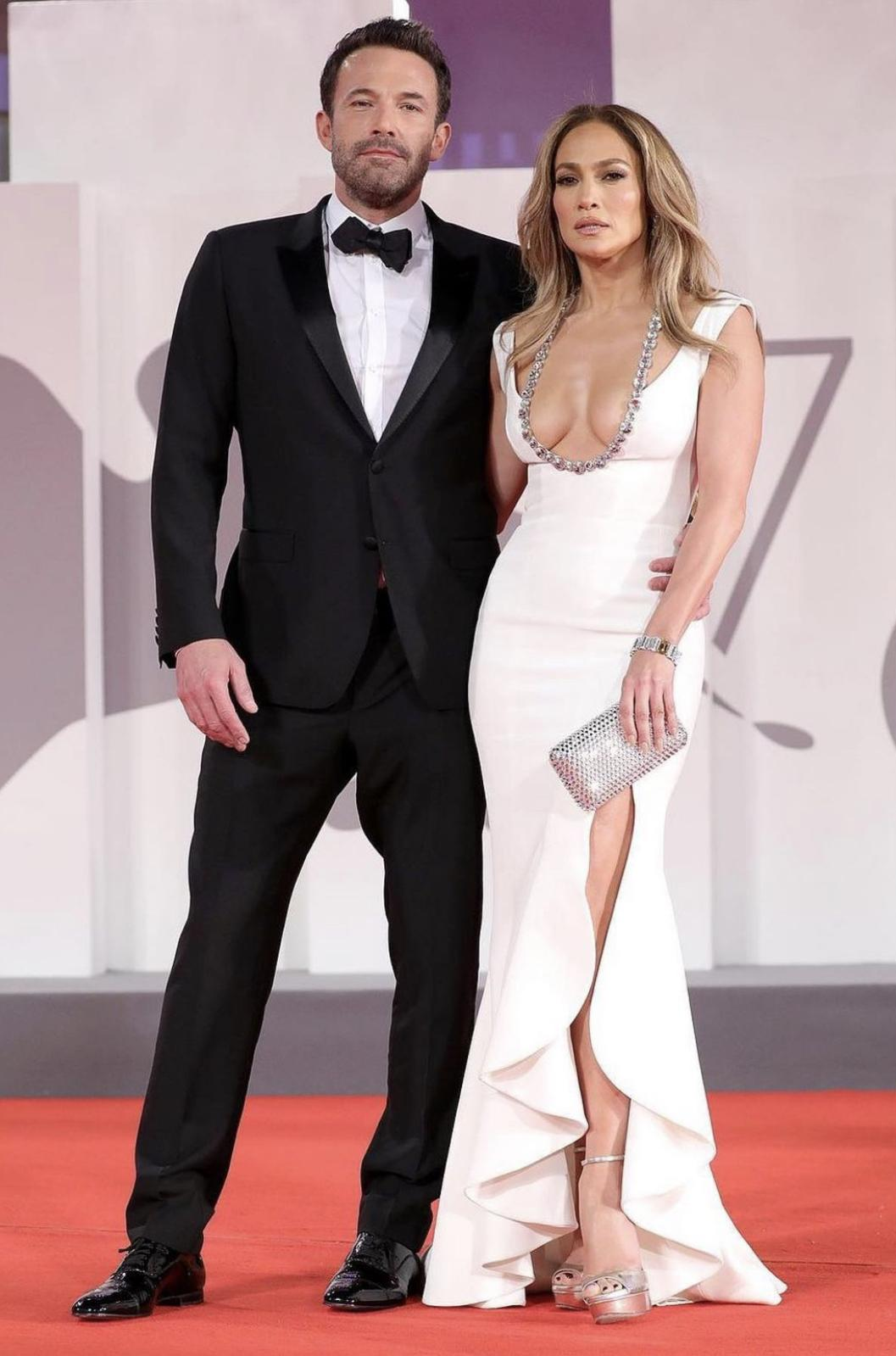 'Bennifer' Shuts Down the Red Carpet at the 2021 Venice Film Festival: Jennifer Lopez Wears Georges Hobeika Fall 2021 Couture Gown and Ben Affleck Wears Dolce and Gabbana Suit