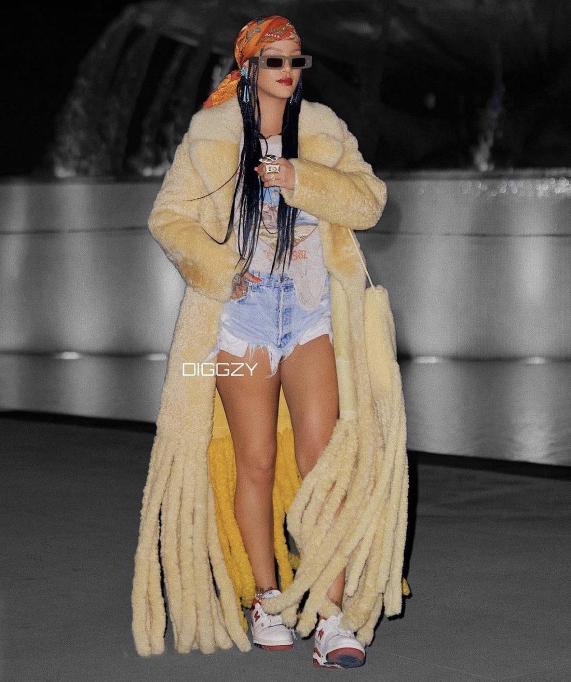 Rihanna Spied Looking for Locations in LA for Next Project Wearing Bottega Veneta Shearling Coat and Bag, Iron Maiden Graphic Tee, Denim Shorts, and Aimé Leon Dore x New Balance Sneakers
