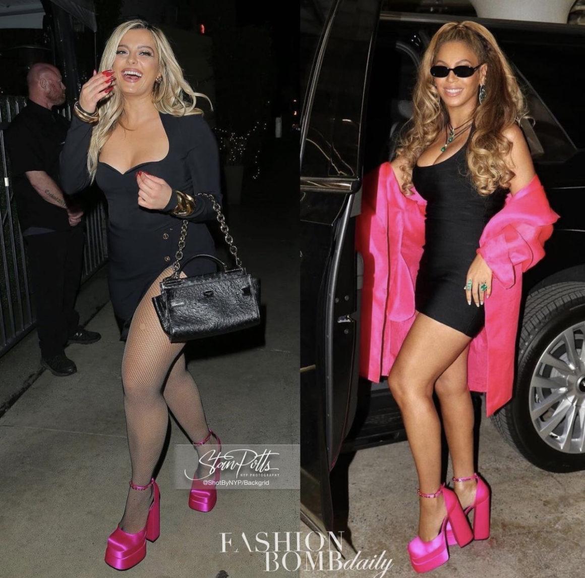 Who Wore It Better: Bebe Rexha and Beyoncé Seen in Versace Satin Pink Platform Sandals