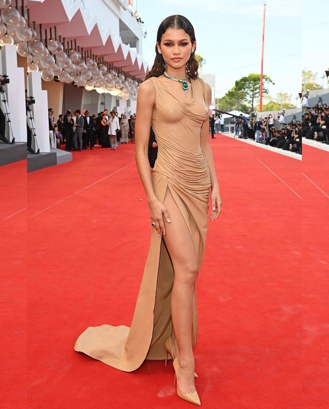 Zendaya Stuns in Custom Balmain Nude Leather Draped Dress for the Premiere of 'Dune' at Venice Film Festival + Birthday Look Featuring Valentino Brown Puff Mini Dress