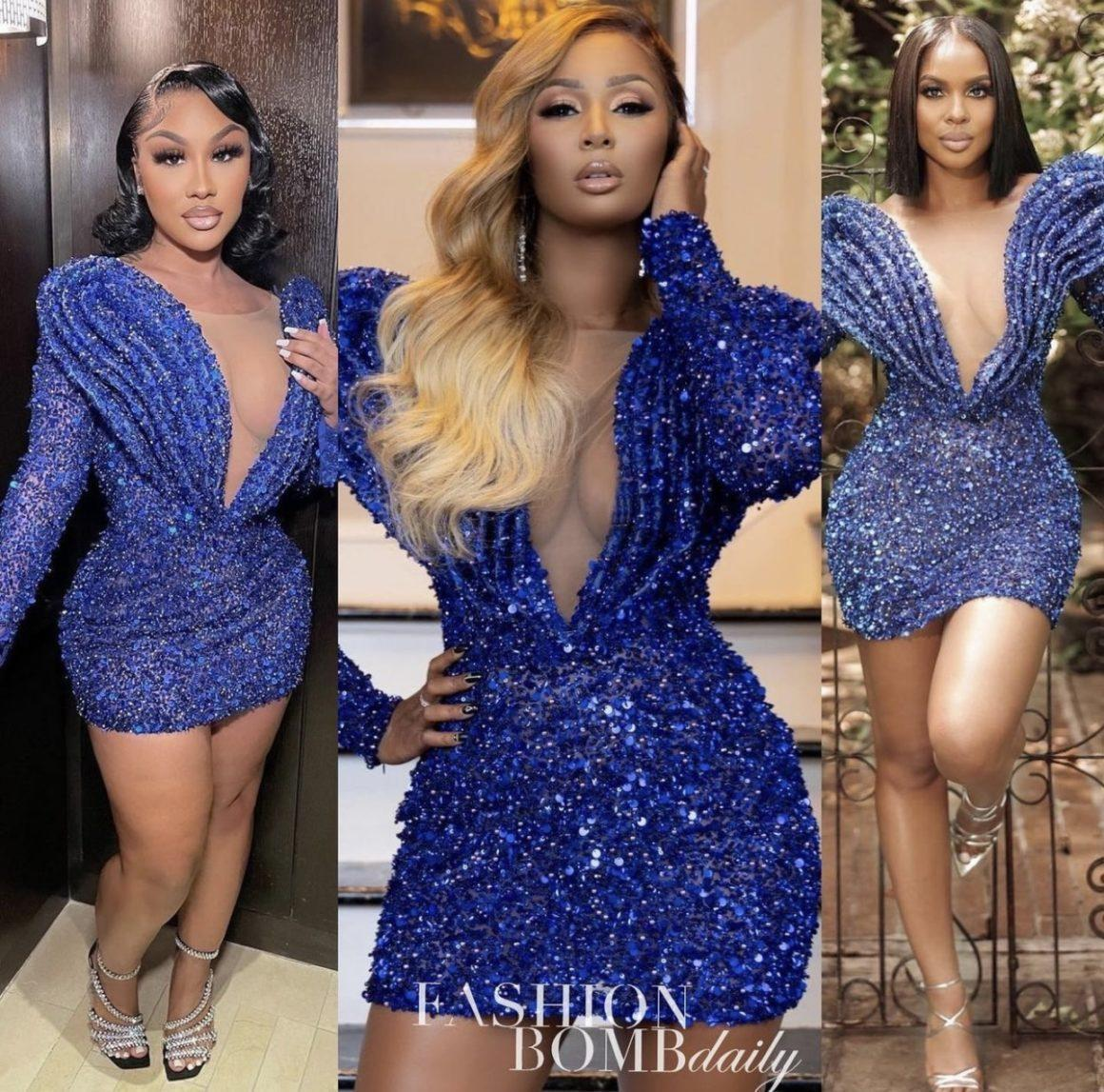 Celebs Love: Ari Fletcher, Melody S. Holt, and It Girl Ariel Spotted in Albina Dyla x Ivy Showroom Blue Sequin Mini Dress