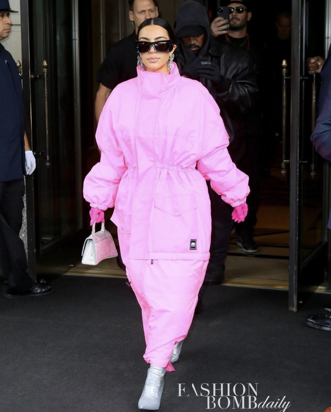 Kim Kardashian Heads Out With Kanye West in NYC Wearing New Pink Look Including Balenciaga Resort 2020 Maxi Puffer Coat