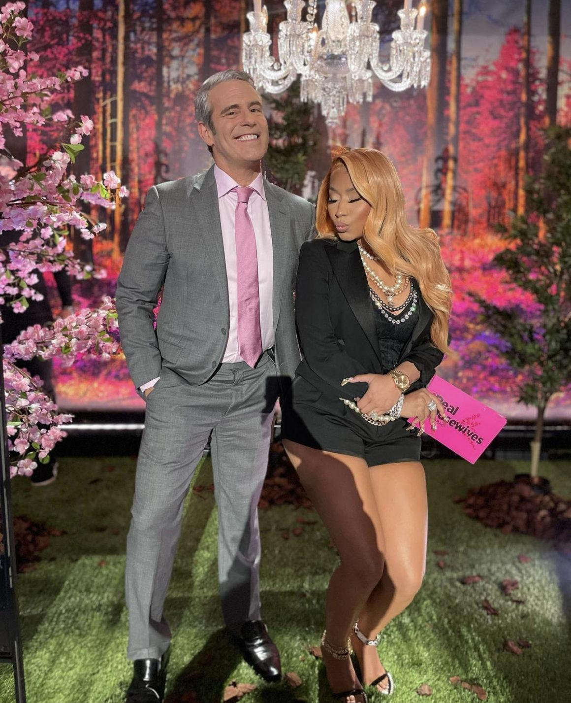 Nicki Minaj Will Guest Host the 'Real Housewives of Potomac' Reunion With Andy Cohen: Confirms News While on Set Wearing Saint Laurent Cropped Blazer and Shorts Paired With Dolce and Gabbana Pearl Accessories