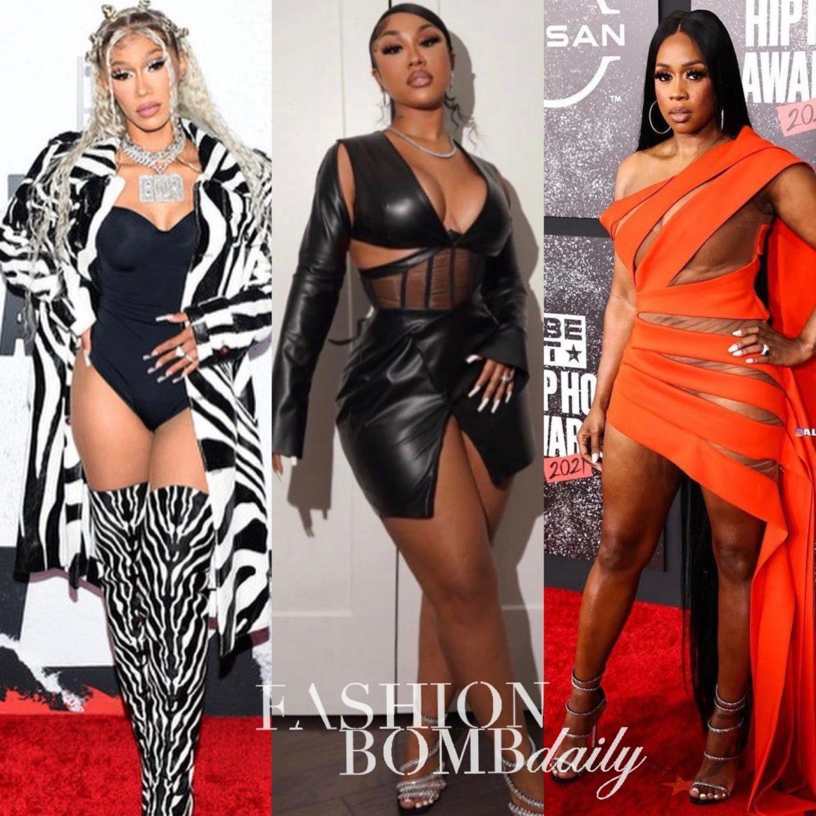 On the Scene at the 2021 BET Hip Hop Awards: Remy Ma in D'Anthony Designz, Jayda Cheaves in London Couture, Ari Fletcher in Caléchie, BIA in Bottega Veneta and More