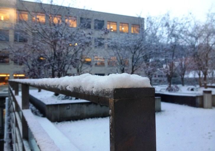 Judihuii, dä erschti Schnee am GIBZ :∗)