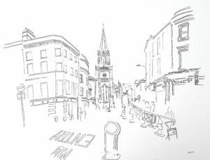 A2 drawing street in Bath with church and bollard