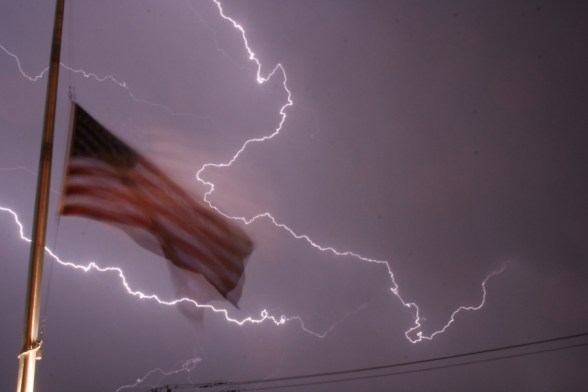 Long Exposure Lightning & Flag