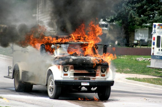 Waste Water Truck Fire, Custer, SD - Third-place in SDNA's Better Newspapers Contest for Spot News Photography