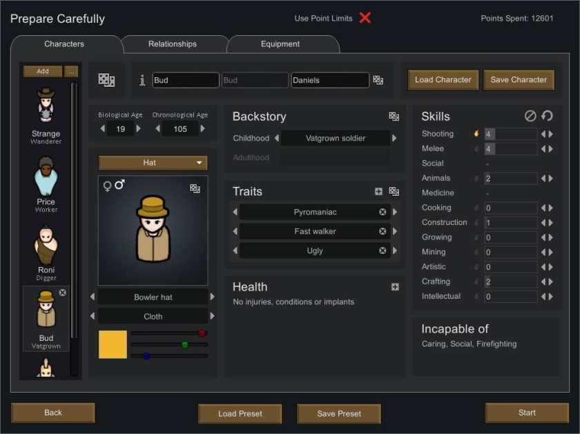The player uses a Rimworld mod to customize their starting colonists.