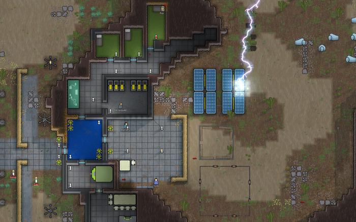 Lightning strikes a Rimworld colony solar panel.
