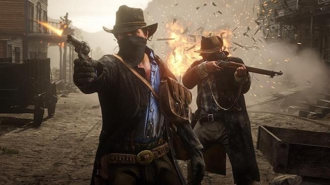 Two cowboys fire guns an explosion erupts behind them in the middle of town.