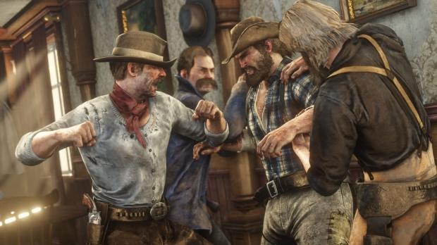 A Red Dead Redemption 2 bar fight as two men restrain another man while a third attacker punch's him.