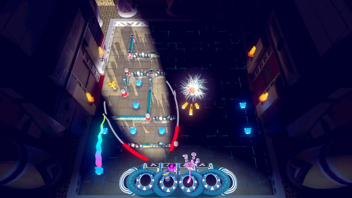 One player uses a light in BBF or Die to illuminate the level for the second player.