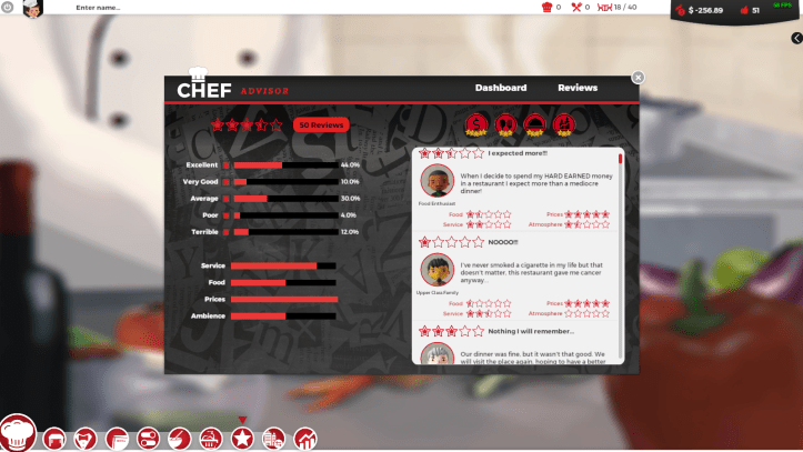 Customer reviews in the game.