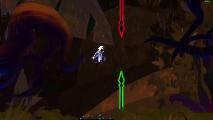 The Chrono ghost jumps between two spears.