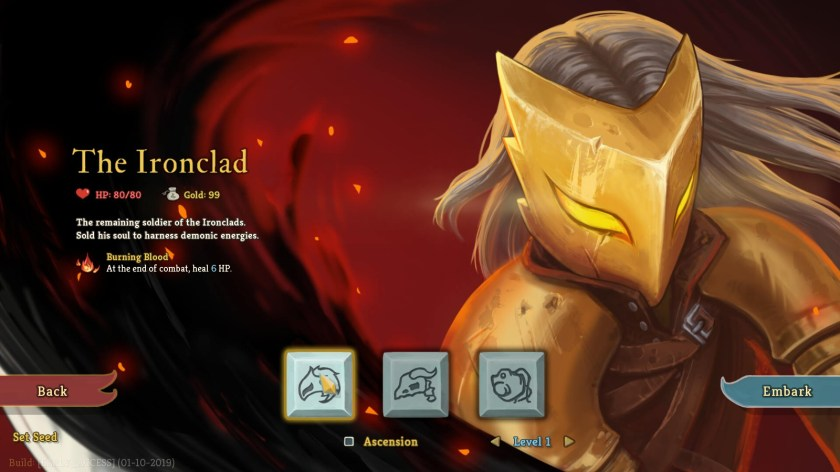 Slay The Spire character select screen.
