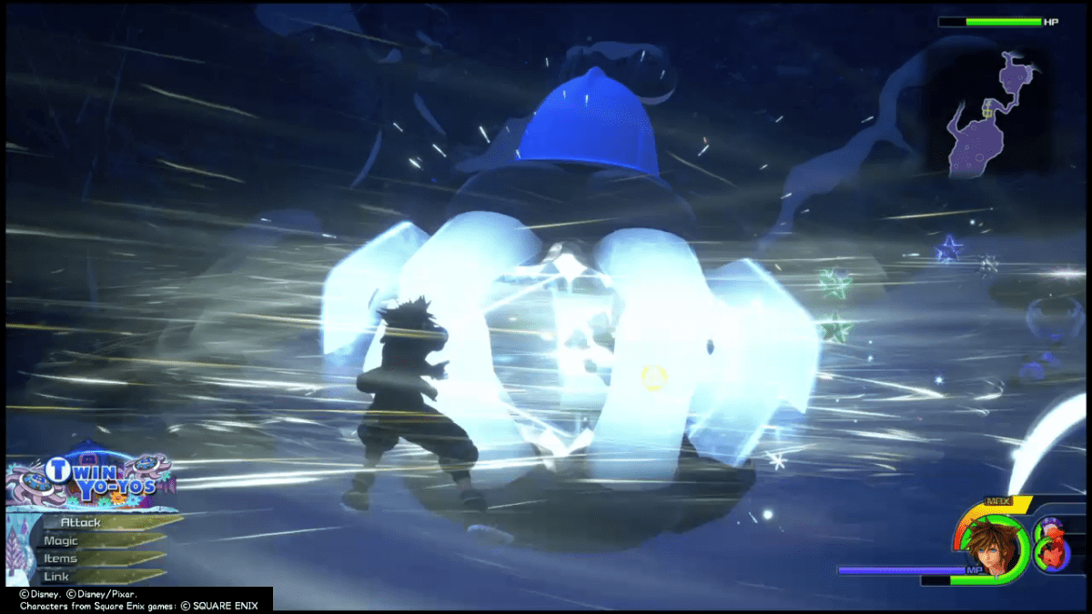 Sora crushes a monster with giant claws made of ice in Kingdom hearts 3.