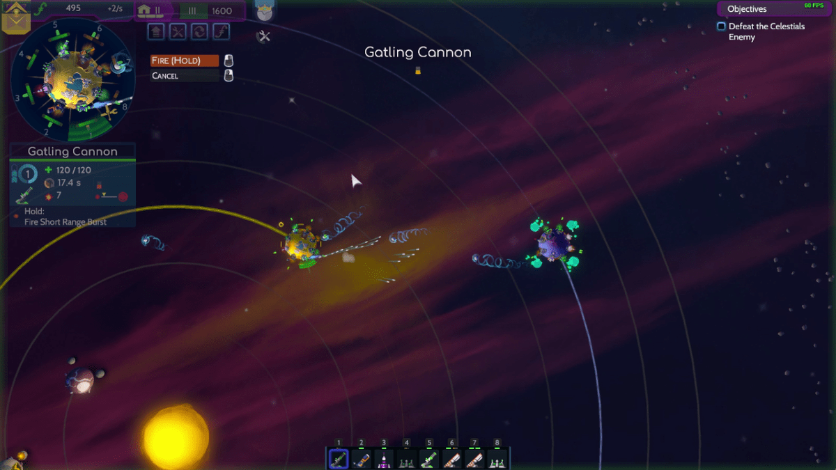 A planet attacks with a Gatling gun in Worbital.