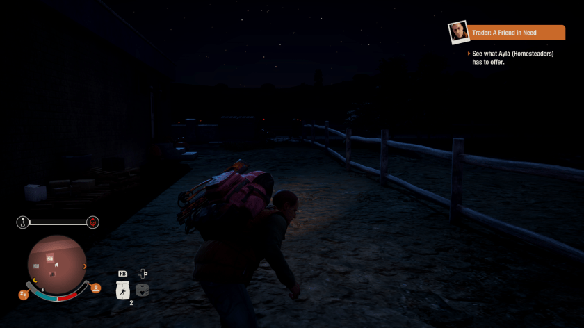 A survivor sneaks around at night in State of Decay 2.