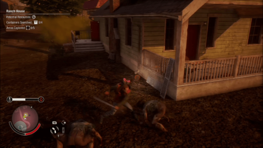 A survivor fights a group of feral zonbies with a machete in State Of Decay 2.