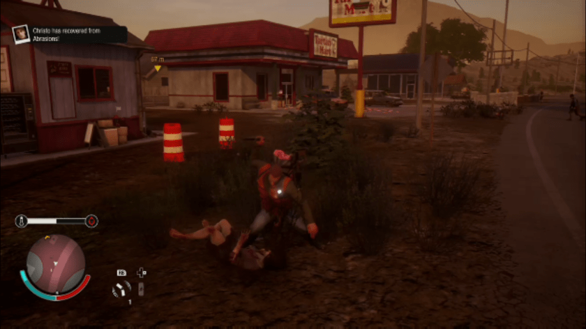 A survivor quietly takes out a zombie in State of Decay 2.