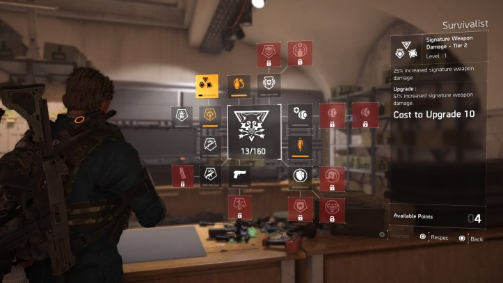 The division 2 class skill tree screen.