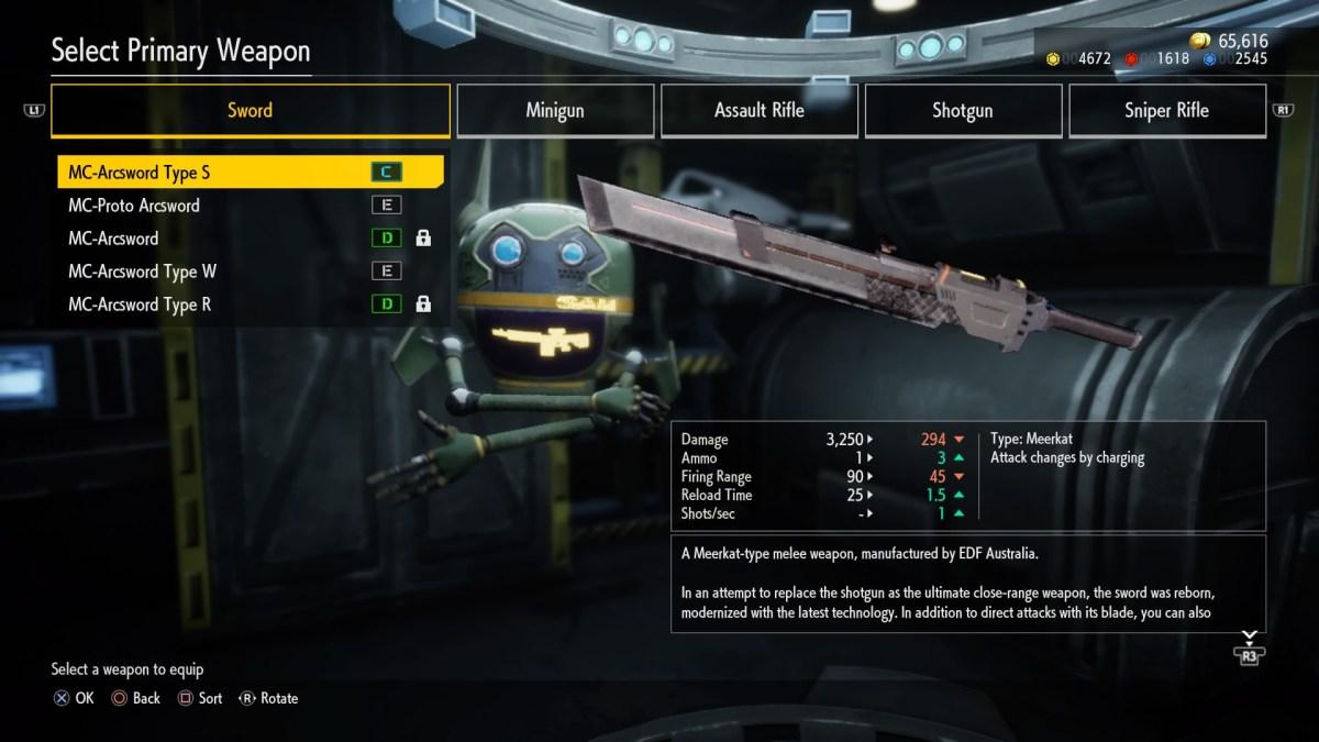 EARTH DEFENSE FORCE: IRON RAIN Weapon screen