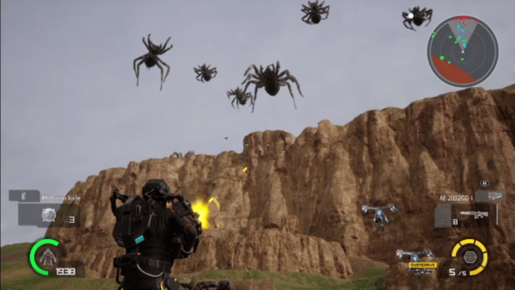 EDF: A swarm of spiders descends from a canyon.