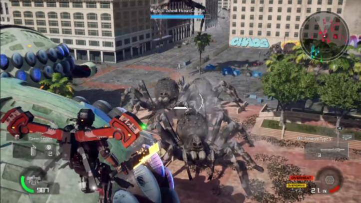 EDF: A Jet lifted hovers above a group of giant spiders.