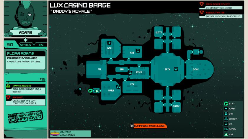 Void bastards map screen.