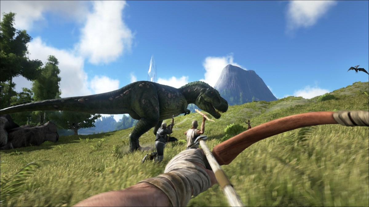 Ark Survival Evolved group of players chase down a T-Rex with bows and spears.