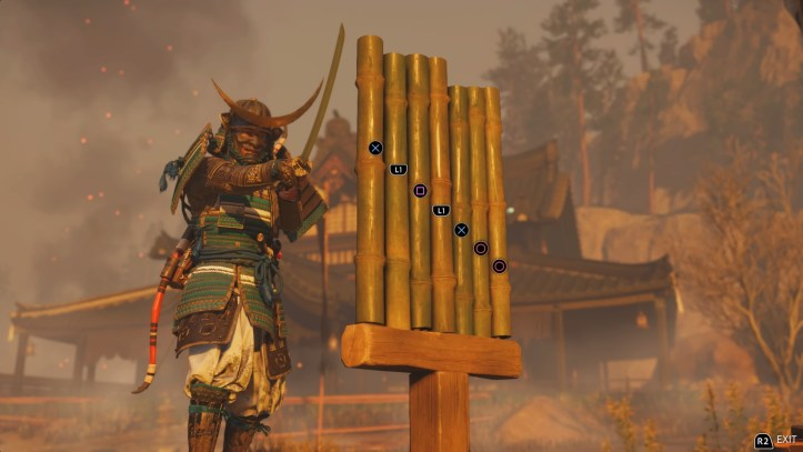 Jin practices sword play on a bamboo stand.