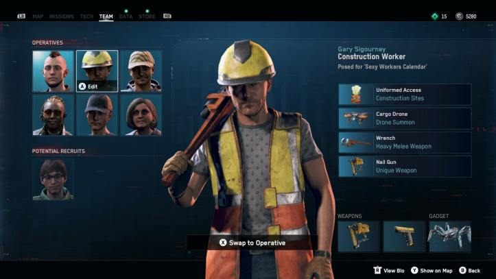 The operative menu shows a construction worker with his gear and skills.