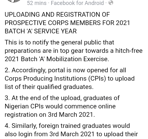 2021 NYSC Batch A Registration Begins On March 3rd