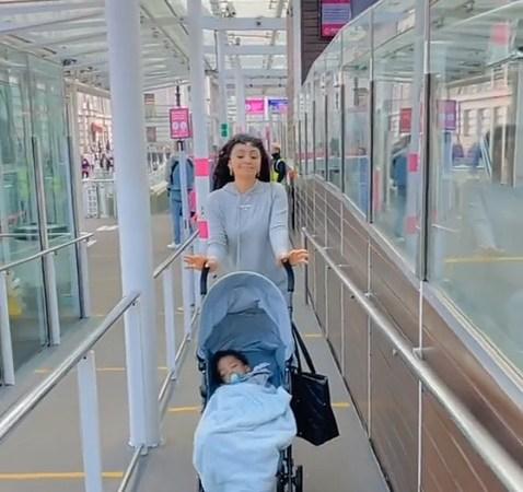 Regina Daniels Bonds With Her Son, Munir, In London