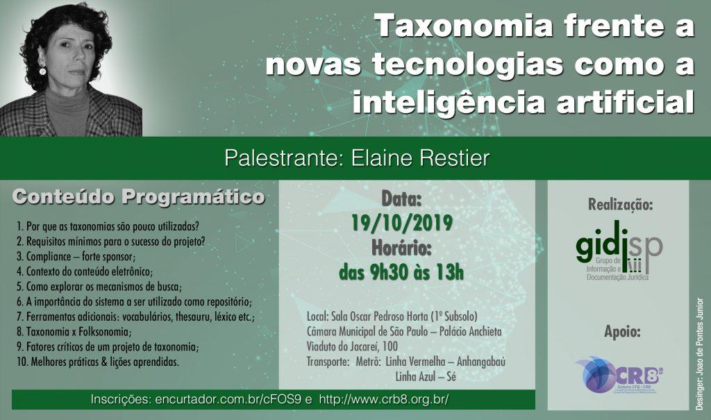Ciclo de Palestras – Taxonomia frente a novas tecnologias como a Inteligência Artificial