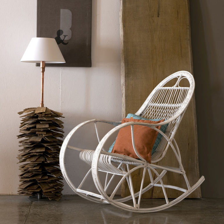 Wicker Rocking Chair Wicker Rocking Chair Snail White Fst0071