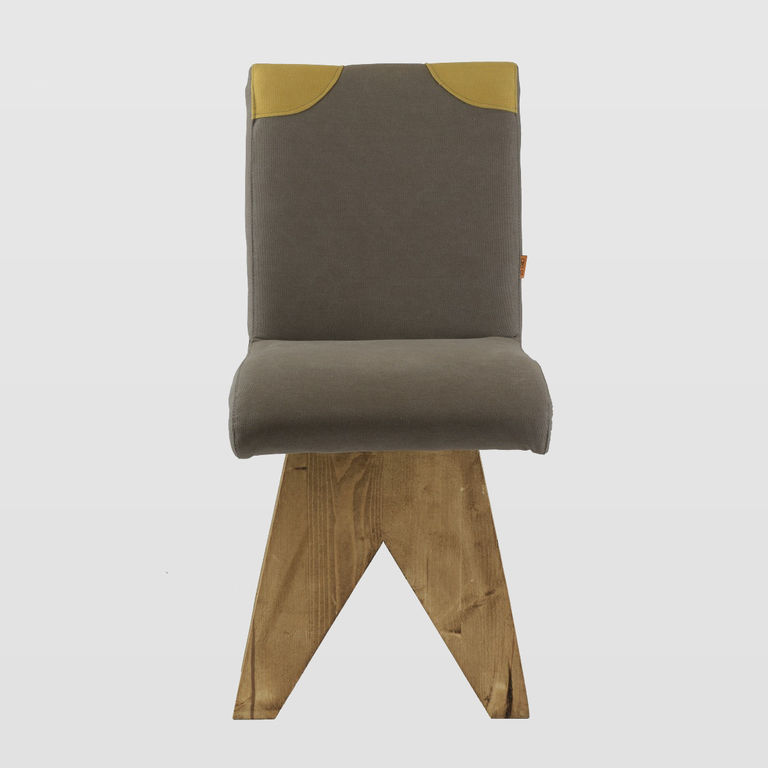 Grey And Yellow Chair Chair On Wooden Base Patchy Gray Yellow Fst0270