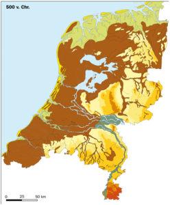 Kaart van Nederland, 500 jaar voor Christus. Zo zag Nederland eruit toen de man uit het veen leefde. (kaart: wikipedia)