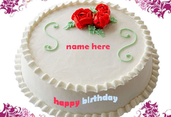 Write Name On Birthday Cake Gif Image White Cake Gifaya