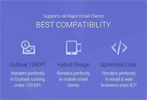 Best Compatiblity: Fresh Newsletter is compatible with all major email clients, with hybrid design and optimzed code it renders perfectly in all major web and mobile email clients and browsers (even IE7!) and it has been optimized for Outlook running under 120 DPI.
