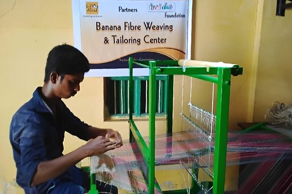 person weaving in center