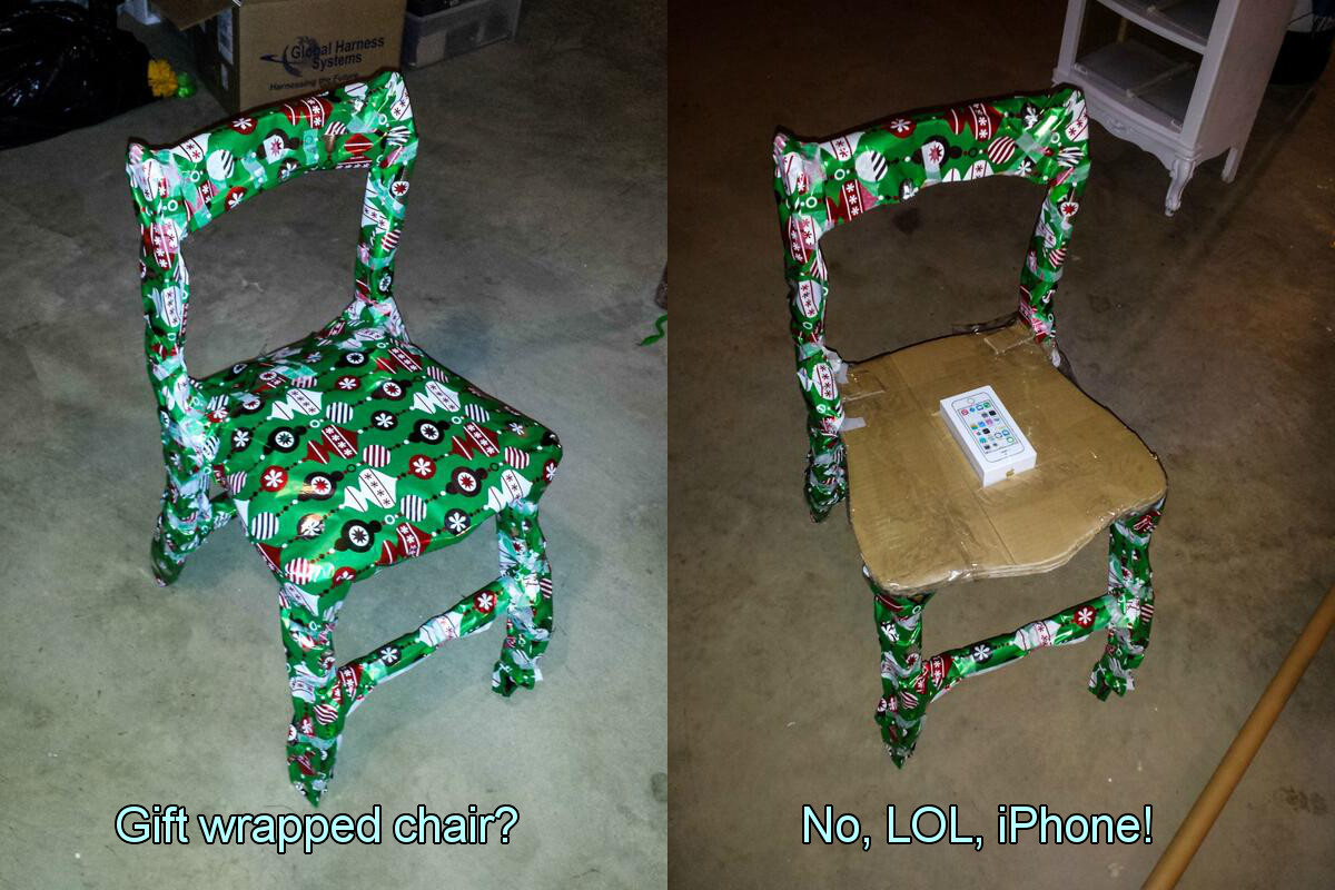 Wrapping iPhone into a Chair and More Ourageous Gift Wrapping Ideas