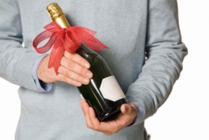 Man with champagne bottle