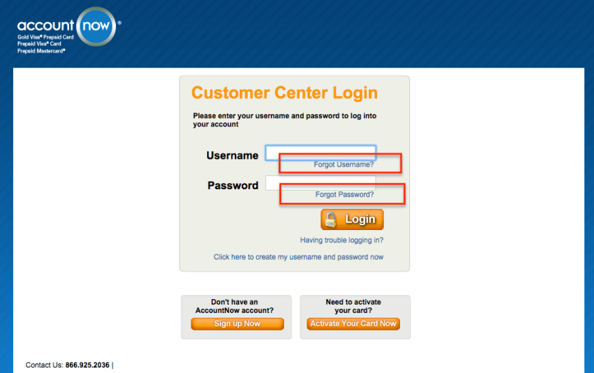 """AccountNow forgot username and password"""