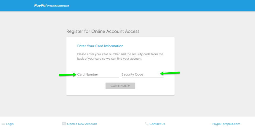 """PayPal Prepaid register for online access 2"""