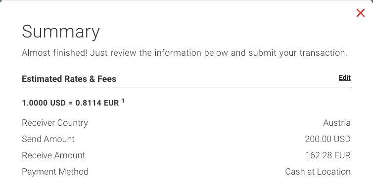 """Send MoneyGram online Summary"""