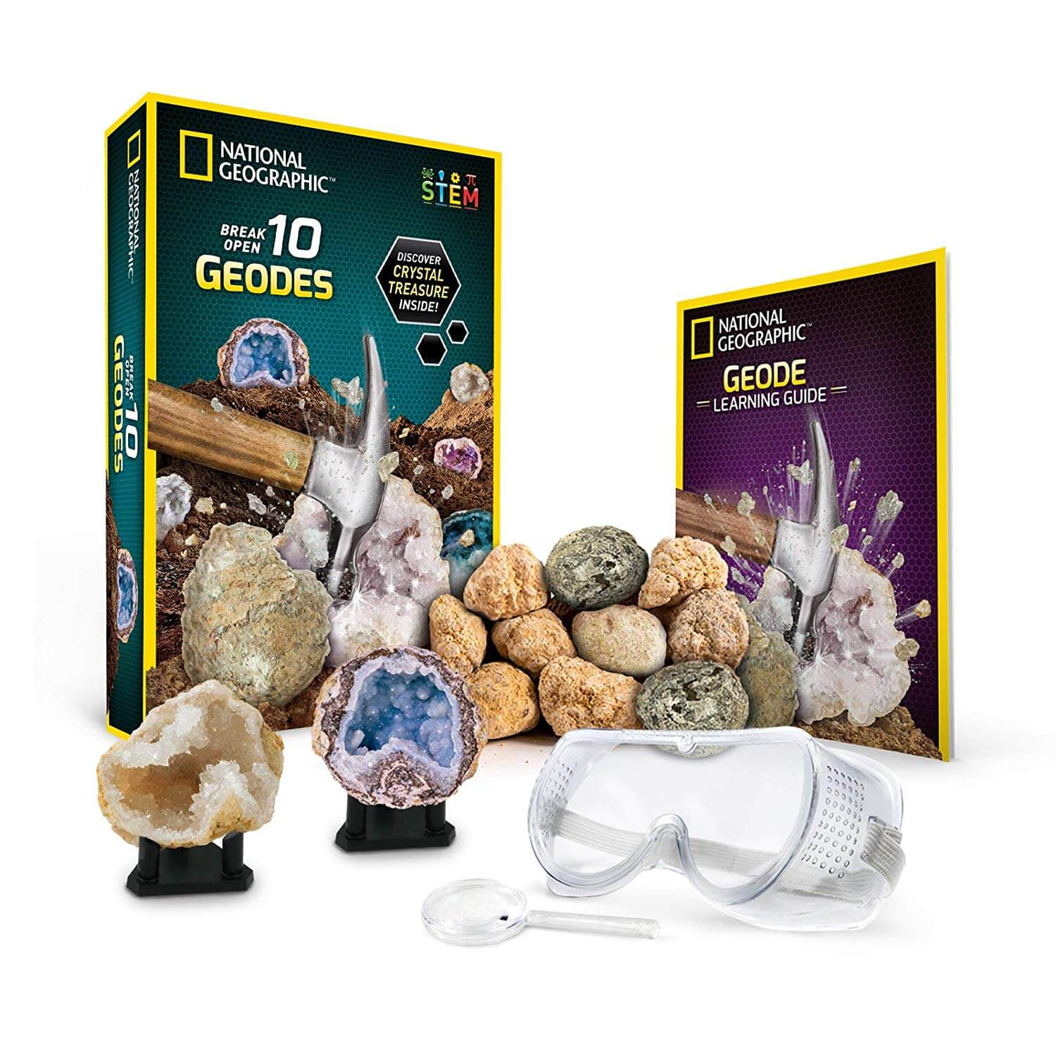 National Geographic Break Open 10 Premium Geodes - STEM Gift