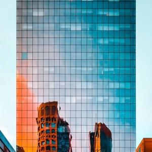 mirror facade of tall building
