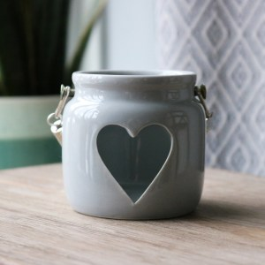 small grey heart candle holder